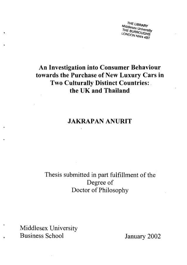 An Investigation into Consumer Behaviour     towards the Purchase of New Luxury Cars in          Two Culturally Distinct C...