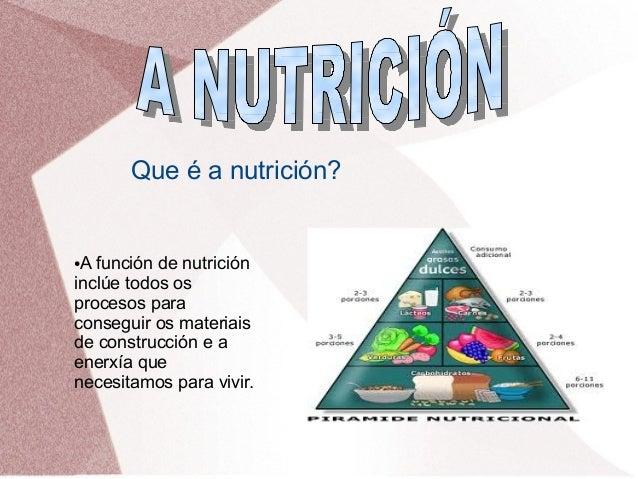 Que é a nutrición?  A función de nutrición inclúe todos os procesos para conseguir os materiais de construcción e a enerxí...