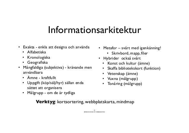 Informationsarkitektur                                      • Exakta - enkla att designa och använda                •...