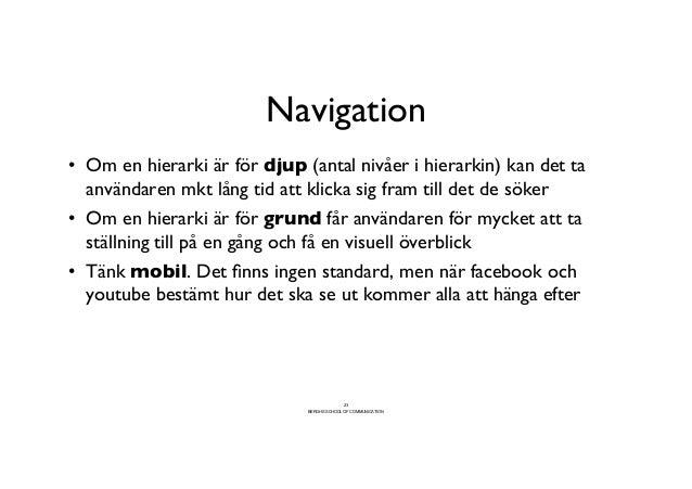 Navigation                                  • Om en hierarki är för djup (antal nivåer i hierarkin) kan det ta   använda...