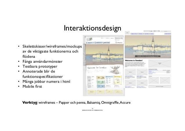 Interaktionsdesign                                             • Skelettskisser/wireframes/mockups    av de viktigaste ...