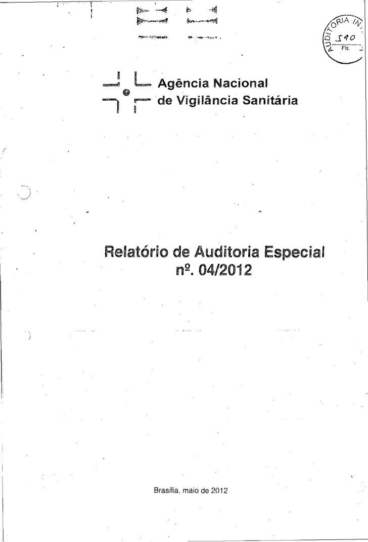 Anvisa - Auditoria especial 04/2012