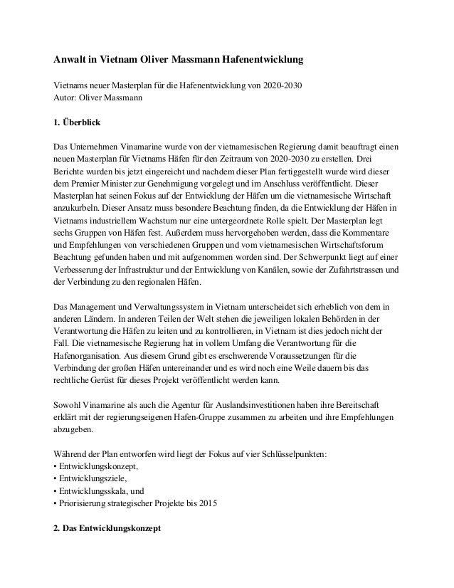 Anwalt in Vietnam Oliver Massmann Hafenentwicklung Vietnams neuer Masterplan für die Hafenentwicklung von 2020-2030 Autor:...