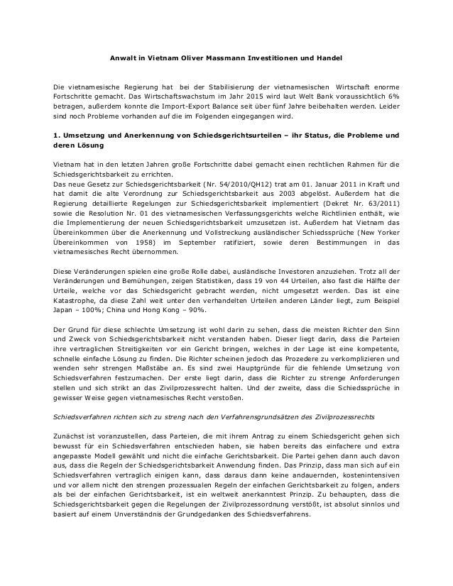 Anwalt in Vietnam Oliver Massmann Investitionen und Handel Die vietnamesische Regierung hat bei der Stabilisierung der vie...