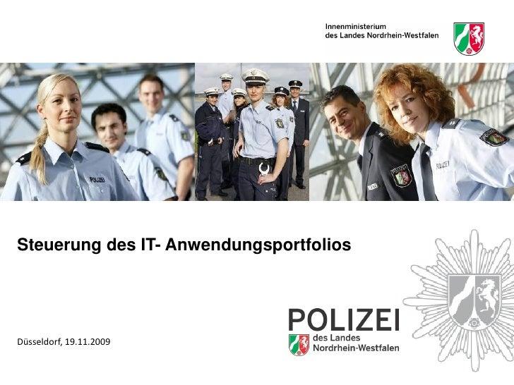 Steuerung des IT- Anwendungsportfolios     Düsseldorf, 19.11.2009