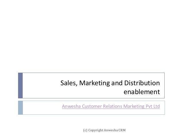 Sales, Marketing and Distribution enablement Anwesha Customer Relations Marketing Pvt Ltd (c) Copyright Anwesha CRM