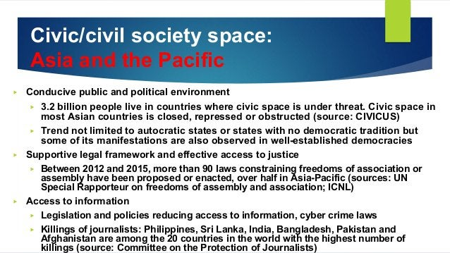 Civic/civil society space: Asia and the Pacific ▶ Conducive public and political environment ▶ 3.2 billion people live in ...