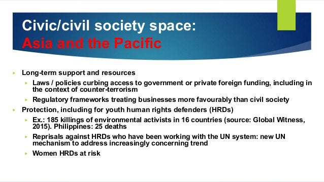 Civic/civil society space: Asia and the Pacific ▶ Long-term support and resources ▶ Laws / policies curbing access to gove...