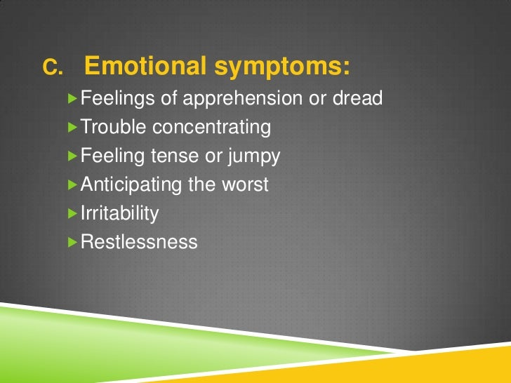 anxiety disorders persistent feeling of dread essay Free essays from bartleby | anxiety disorders introduction: anxiety  with  this disorder, there is a constant feeling of dread that shapes your entire life.