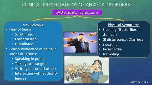 ARWA M. AMIN CLINICAL PRESENTATIONS OF ANXIETY DISORDERS SAD Anxiety Symptoms Psychological • Fear of being • Scrutinized ...