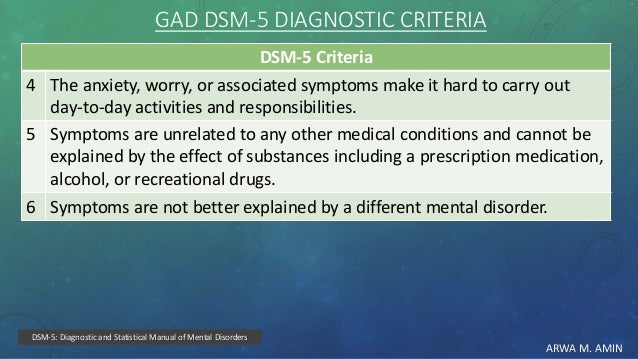 ARWA M. AMIN GAD DSM-5 DIAGNOSTIC CRITERIA DSM-5 Criteria The anxiety, worry, or associated symptoms make it hard to carry...