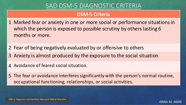 ARWA M. AMIN SAD DSM-5 DIAGNOSTIC CRITERIA DSM-5 Criteria Marked fear or anxiety in one or more social or performance situ...