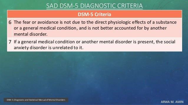 ARWA M. AMIN SAD DSM-5 DIAGNOSTIC CRITERIA DSM-5 Criteria The fear or avoidance is not due to the direct physiologic effec...