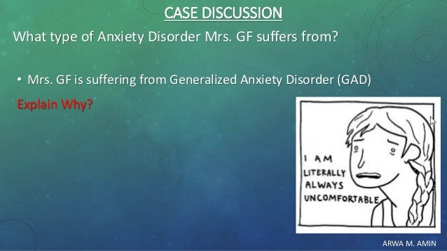 ARWA M. AMIN CASE DISCUSSION What type of Anxiety Disorder Mrs. GF suffers from? • Mrs. GF is suffering from Generalized A...