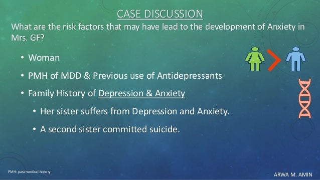 ARWA M. AMIN CASE DISCUSSION What are the risk factors that may have lead to the development of Anxiety in Mrs. GF? • Woma...