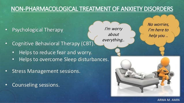 ARWA M. AMIN NON-PHARMACOLOGICAL TREATMENT OF ANXIETY DISORDERS • Psychological Therapy • Cognitive Behavioral Therapy (CB...
