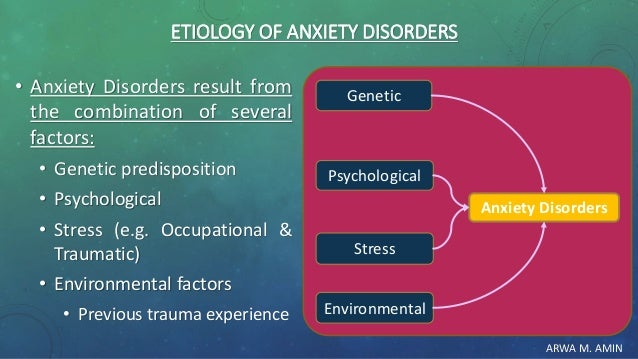 ARWA M. AMIN ETIOLOGY OF ANXIETY DISORDERS • Anxiety Disorders result from the combination of several factors: • Genetic p...