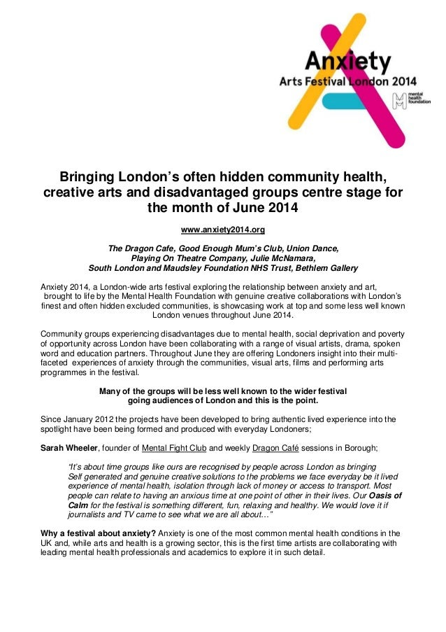 Bringing London's often hidden community health, creative arts and disadvantaged groups centre stage for the month of June...