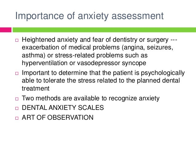 Anxiety reduction control
