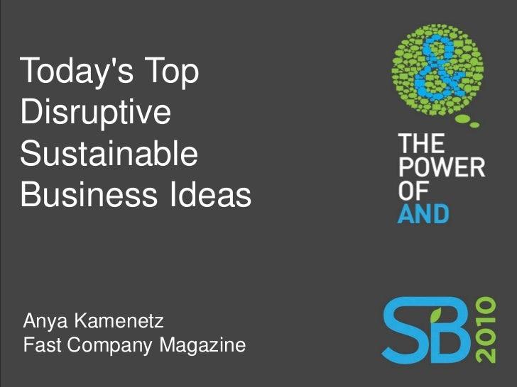 Today's Top Disruptive Sustainable Business Ideas   Anya Kamenetz Fast Company Magazine