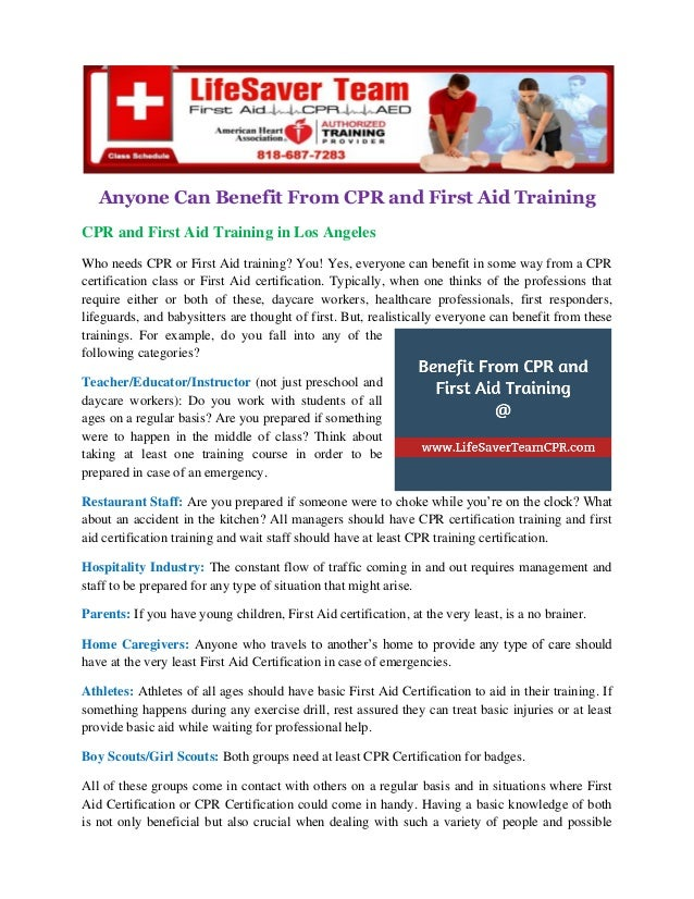 Anyone Can Benefit From Cpr And First Aid Training