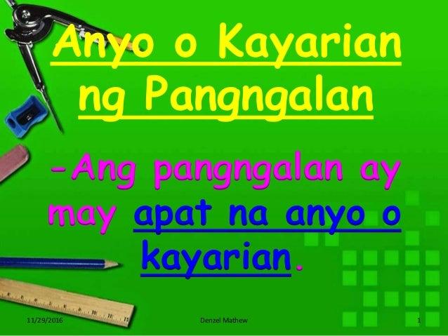 Anyo o Kayarian ng Pangngalan 11/29/2016 Denzel Mathew 1 -Ang pangngalan ay may apat na anyo o kayarian.