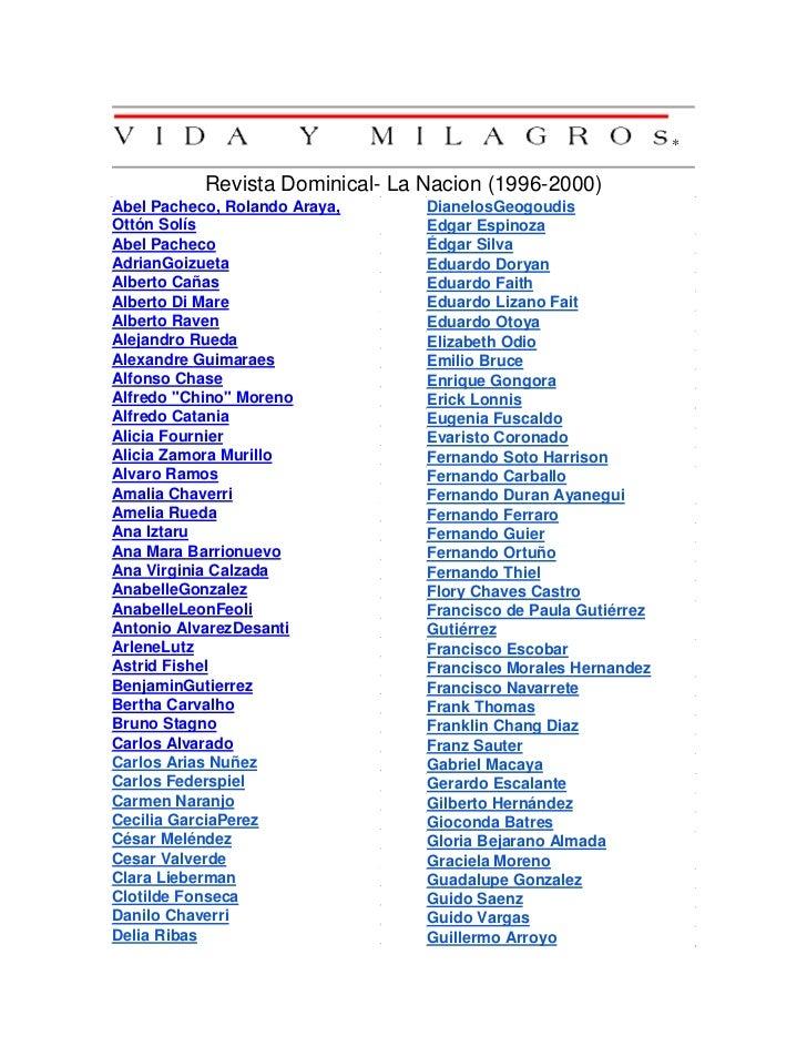*           Revista Dominical- La Nacion (1996-2000)Abel Pacheco, Rolando Araya,     DianelosGeogoudisOttón Solís         ...