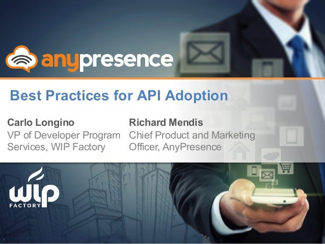© Copyright 2013 AnyPresence, Inc. All rights reserved. Best Practices for API Adoption Carlo Longino VP of Developer Prog...