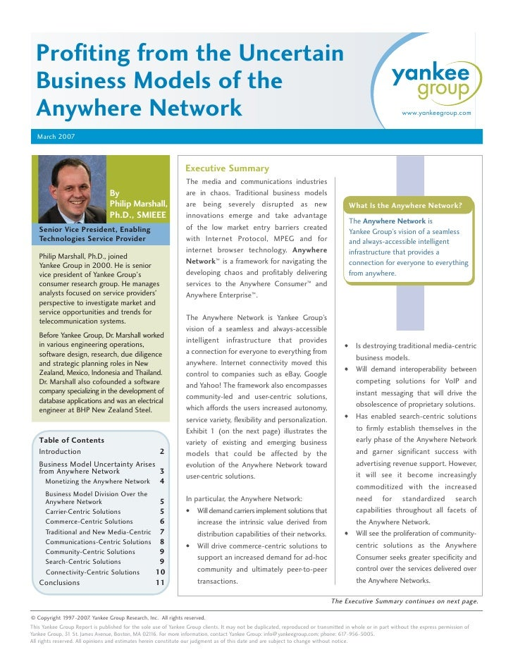 Profiting from the Uncertain   Business Models of the   Anywhere Network                                                  ...