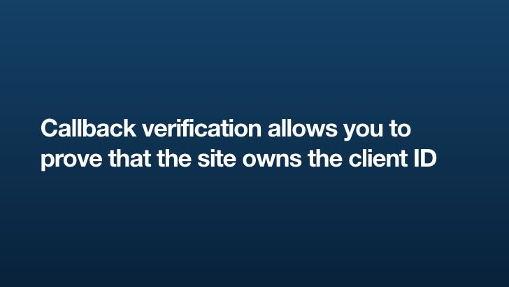 Couple of warnings ‣   It's secure, but not that secure ‣   Don't store access tokens in a cookie (localStorage works) ‣ ...