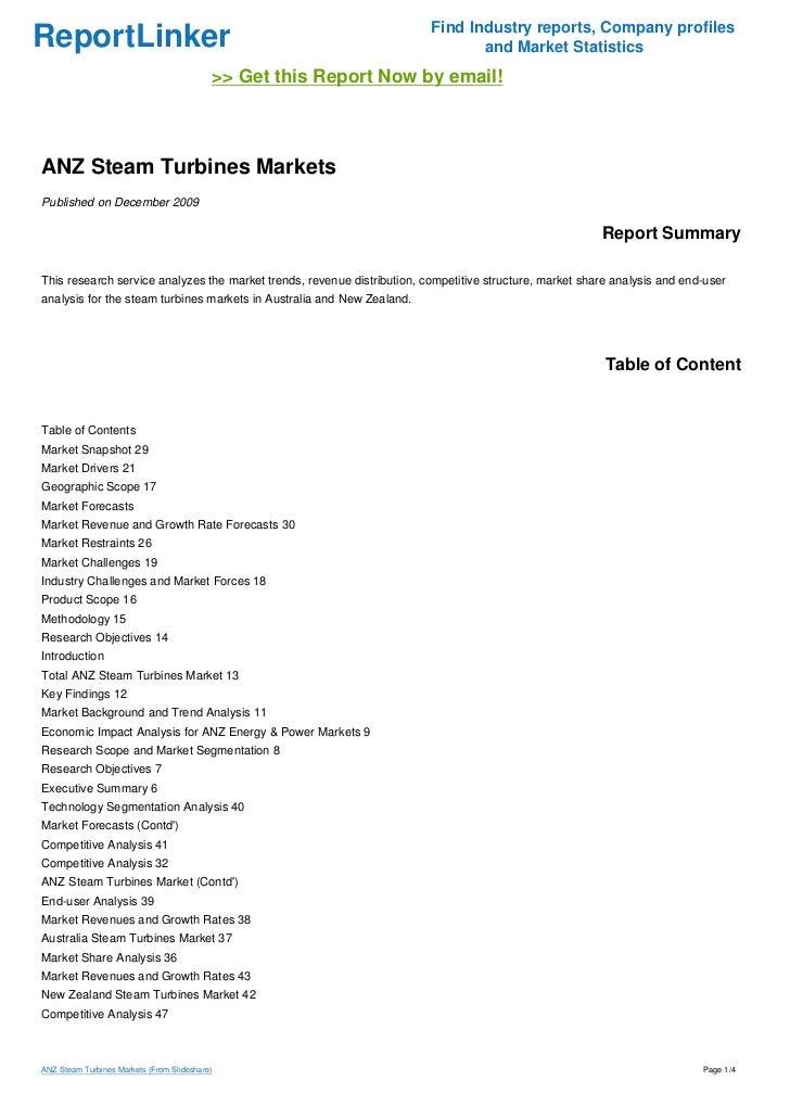ANZ Steam Turbines Markets