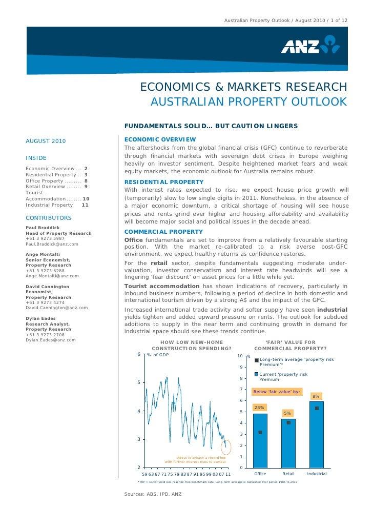 Australian Property Outlook / August 2010 / 1 of 12                                         ECONOMICS & MARKETS RESEARCH  ...