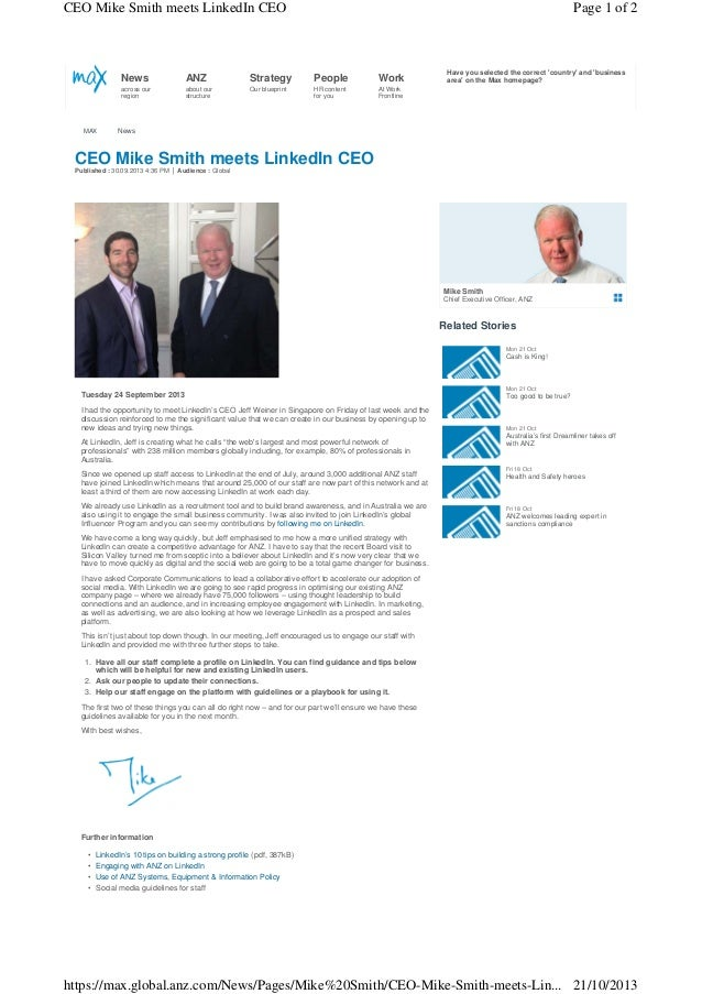 CEO Mike Smith meets LinkedIn CEO  Page 1 of 2  News  Strategy  People  Work  across our region  MAX  ANZ about our struct...