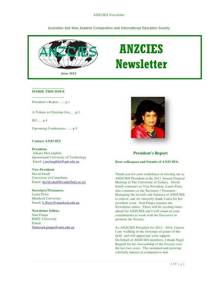 ANZCIES Newsletter             Australian and New Zealand Comparative and International Education Society                 ...