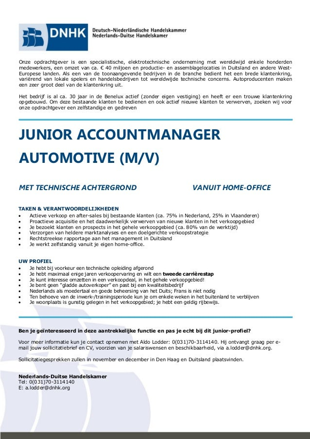 accountmanager sollicitatiebrief Junior Accountmanager Automotive accountmanager sollicitatiebrief