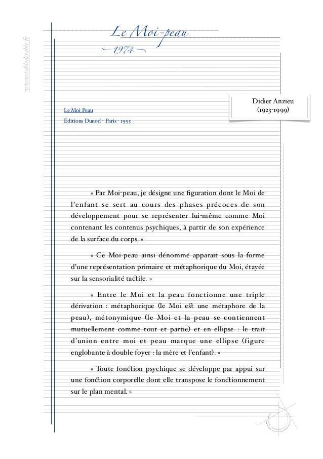 """www.tabledesable.""""  Le Moi-peau  """"  1974  !  Le Moi Peau  Didier Anzieu (1923-1999)  Éditions Dunod - Paris - 1995  « Par ..."""