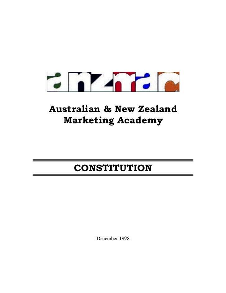 Australian & New Zealand  Marketing Academy    CONSTITUTION        December 1998
