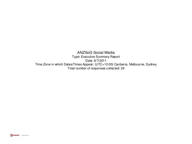 ANZSoG Social Media                                               Type: Executive Summary Report                          ...