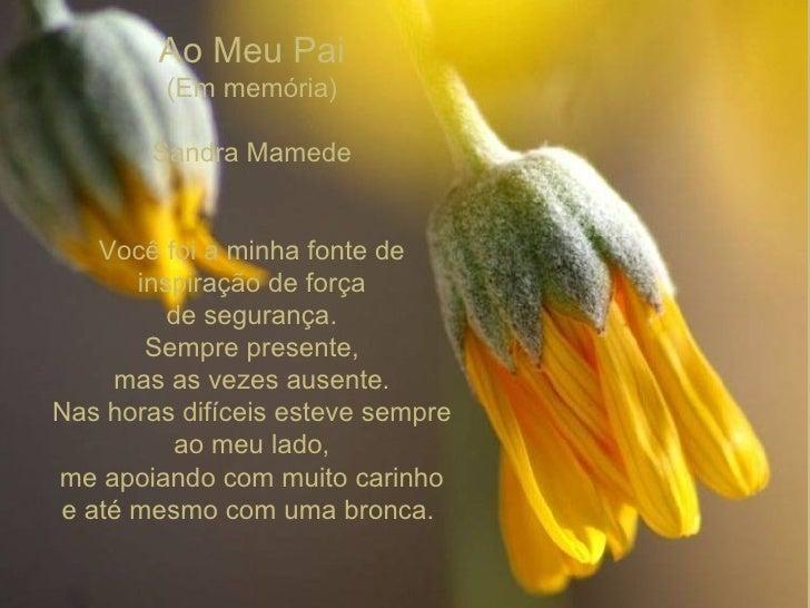 Ao Meu Pai (Em memória) Sandra Mamede    Você foi a minha fontede inspiração de força de segurança. Sempre presente, ma...