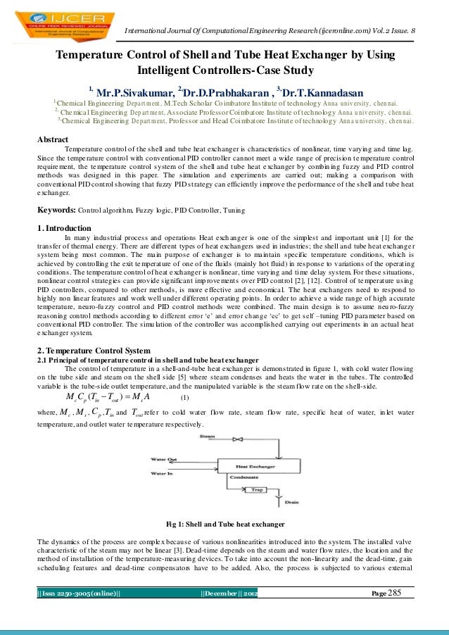 I nternational Journal Of Computational Engineering Research (ijceronline.com) Vol. 2 Issue. 8      Temperature Control of...