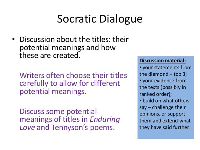 an analysis of a socratic dialogue Avid socratic seminar  dialogue is exploratory and involves the suspension of biases and prejudices  literary analysis questions.