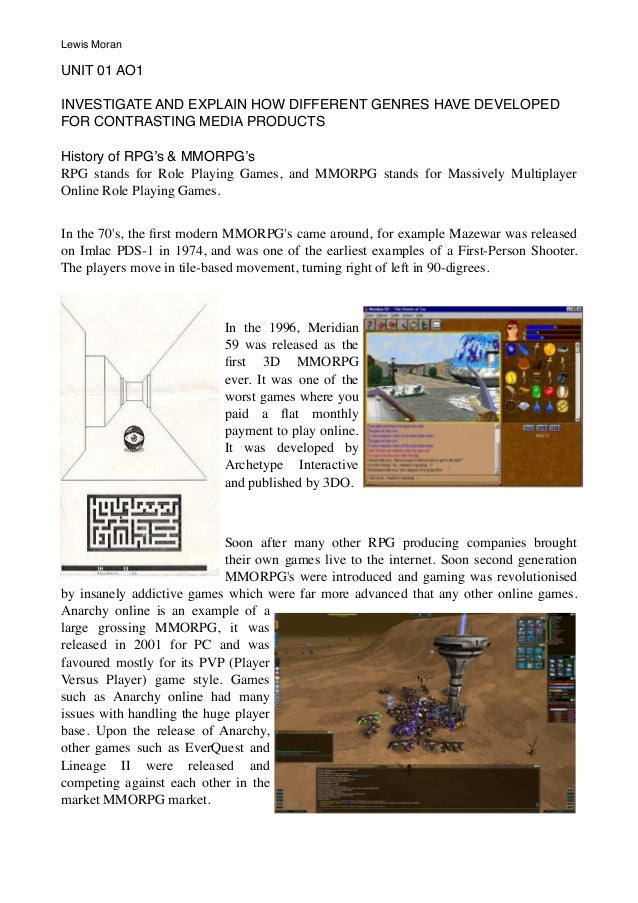 UNIT 01 AO1 INVESTIGATE AND EXPLAIN HOW DIFFERENT GENRES HAVE DEVELOPED FOR CONTRASTING MEDIA PRODUCTS History of RPG's & ...