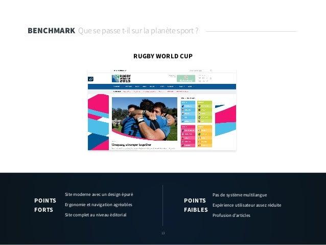 13 BENCHMARK Que se passe t-il sur la planète sport ? RUGBY WORLD CUP Site moderne avec un design épuré Ergonomie et navig...