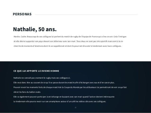 25 PERSONAS Nathalie, 50 ans. Mariée. Cadre. Beaucoup de ses collègues lui parlent du match de rugby de l'équipe de France...
