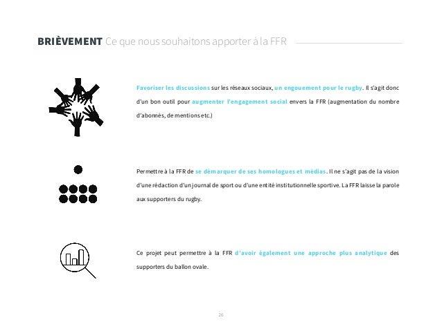 26 BRIÈVEMENT Ce que nous souhaitons apporter à la FFR Ce projet peut permettre à la FFR d'avoir également une approche pl...