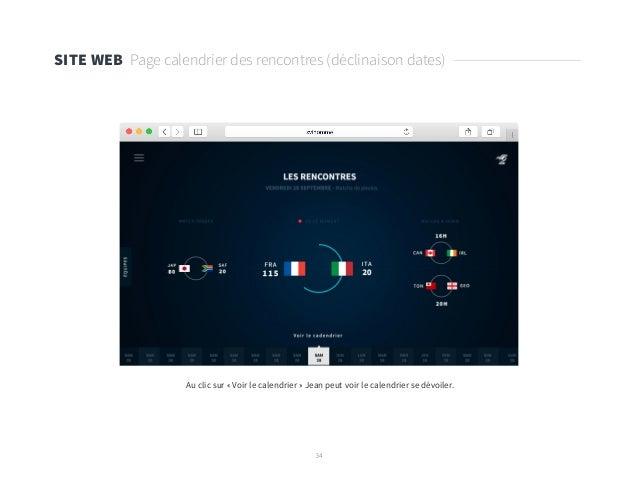 34 SITE WEB Page calendrier des rencontres (déclinaison dates) Au clic sur « Voir le calendrier » Jean peut voir le calend...