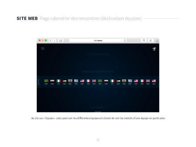 35 SITE WEB Page calendrier des rencontres (déclinaison équipes) Au clic sur « Équipe » Jean peut voir les différentes équ...