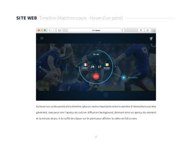 37 SITE WEB Timeline (Match en cours - Hover d'un point) Au hover sur un des points de la timeline (plus ou moins importan...