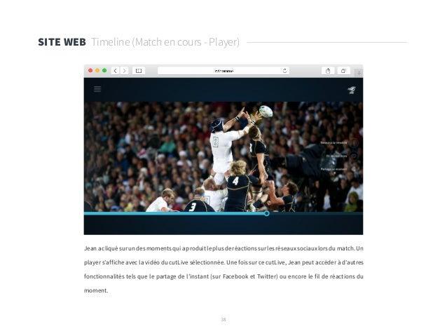 38 SITE WEB Timeline (Match en cours - Player) Jean a cliqué sur un des moments qui a produit le plus de réactions sur les...