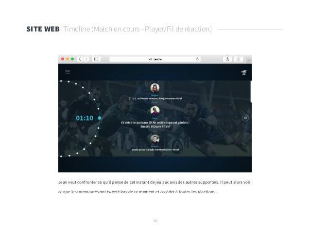 40 SITE WEB Timeline (Match en cours - Player/Fil de réaction) Jean veut confronter ce qu'il pense de cet instant de jeu a...